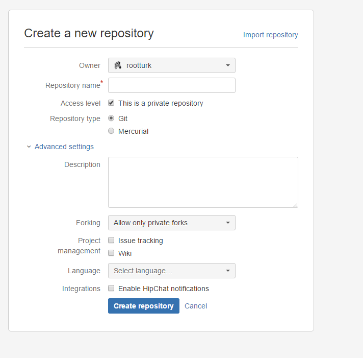 Create Repository Screen